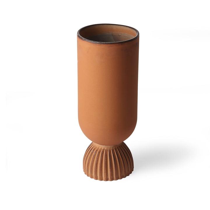 Ribbed Vase, Ø 11 x H 25 cm, rustic orange von HKliving
