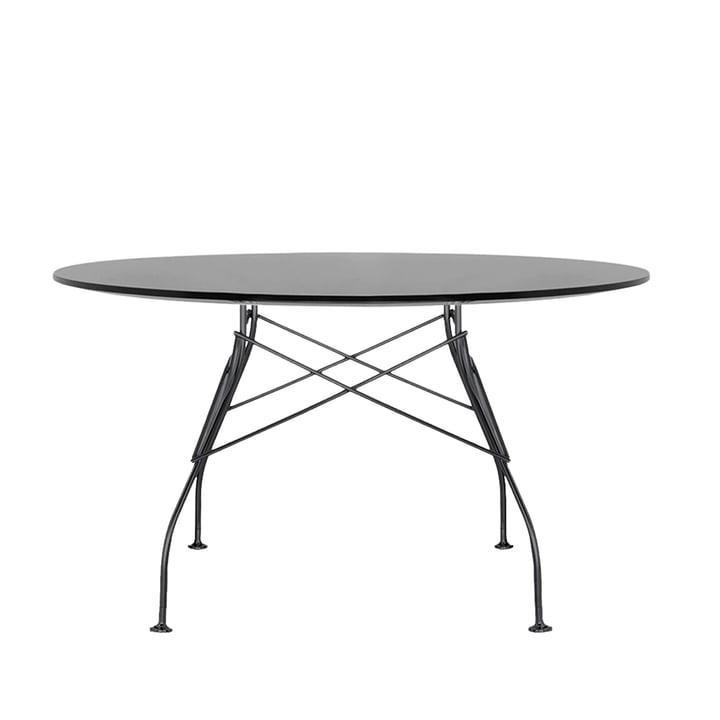 Glossy Outdoor Tisch Ø 128 x H 72 cm von Kartell in schwarz