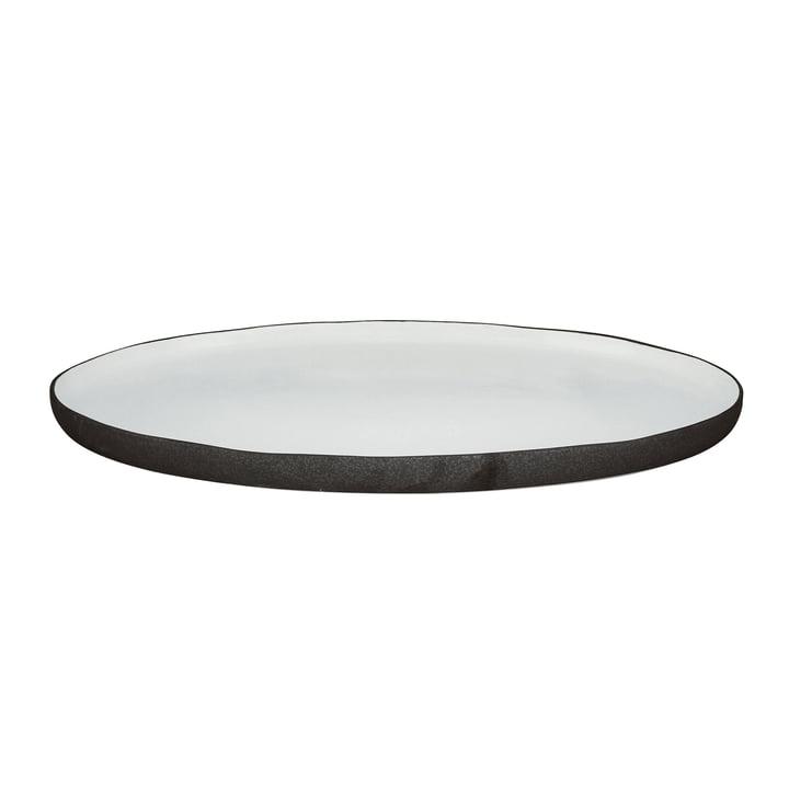 Esrum Servierplatte oval L, 39 x 26,5 cm, elfenbein glänzend / grau matt von Broste Copenhagen