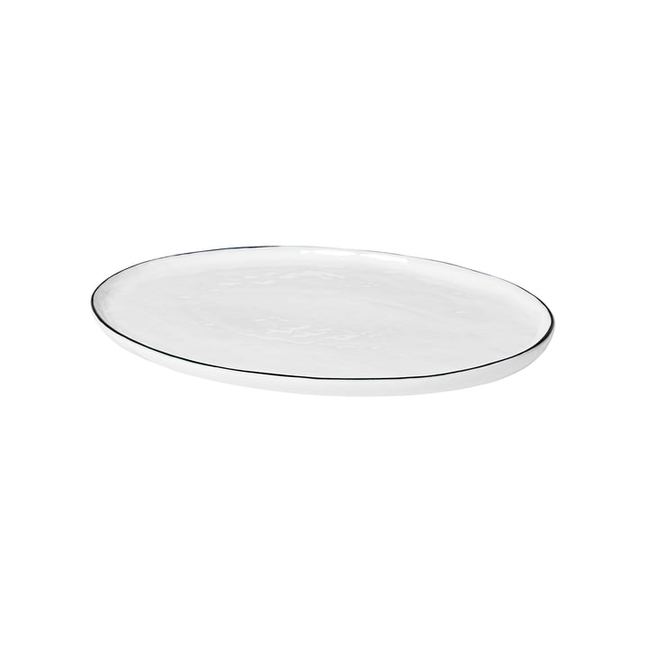Salt Servierplatte oval, 30 x 20 cm, weiß / schwarz von Broste Copenhagen