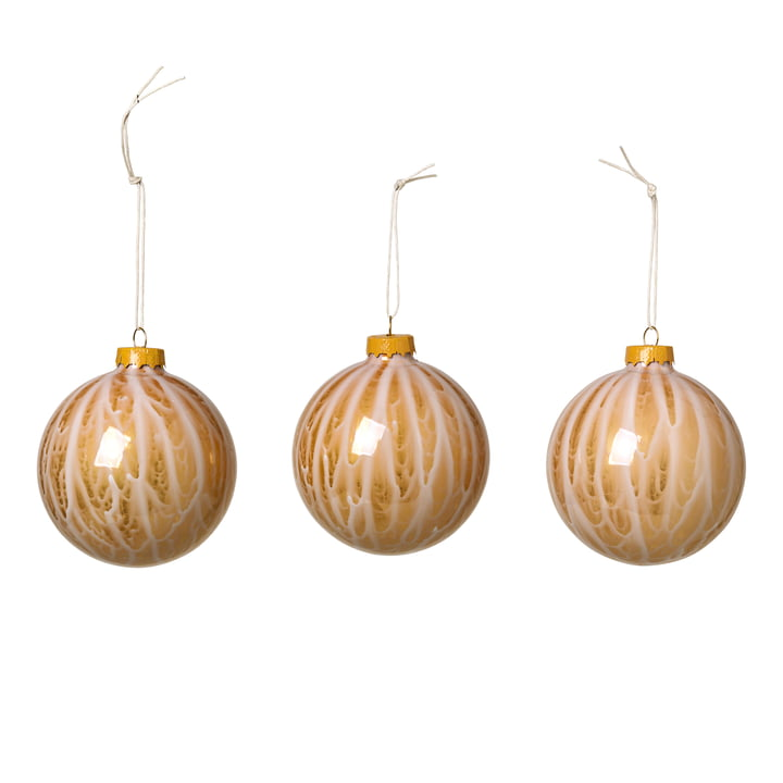 Marble Christbaumkugeln, apple cinnamon (3er-Set) von Broste Copenhagen