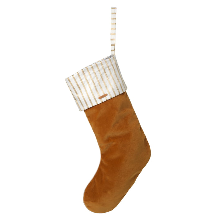 ferm Living - Weihnachtsstrumpf Samt, mustard