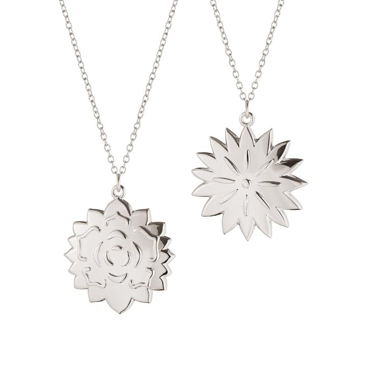 Ornament Anhänger Ice Dianthus & Rosette, palladium von Georg Jensen.