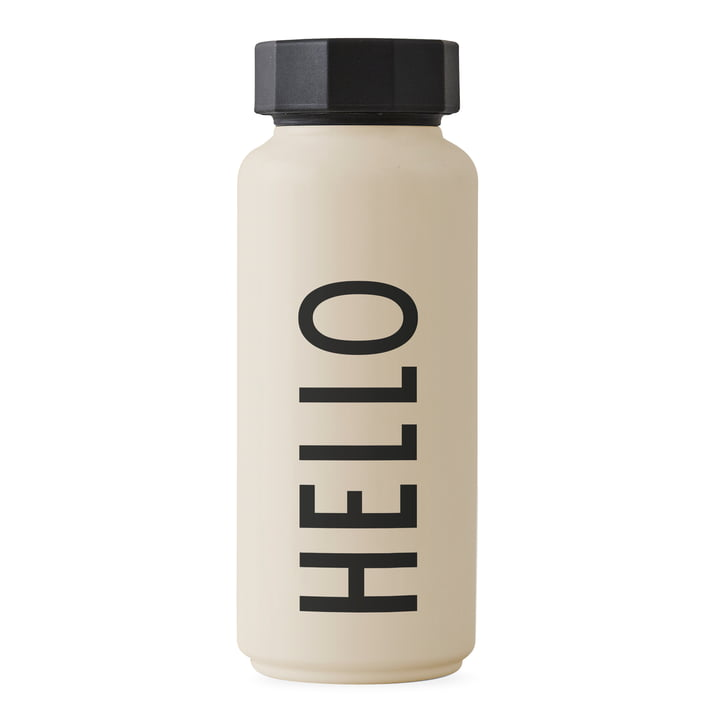 Die AJ Thermosflasche Hot & Cold 0,5 l, Hello / beige von Design Letters