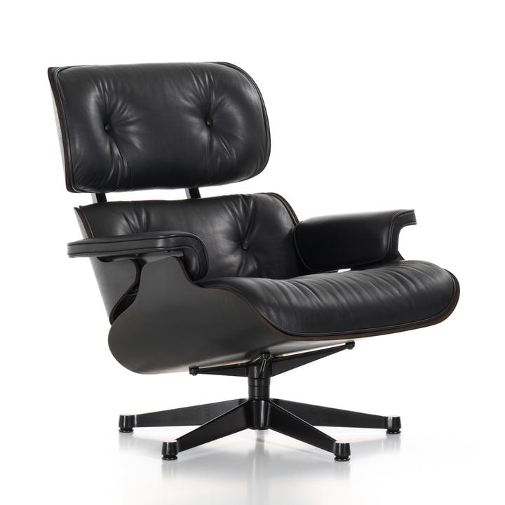 Vitra - Lounge Chair, schwarz, Esche schwarz, Leder Premium nero (neue Maße)