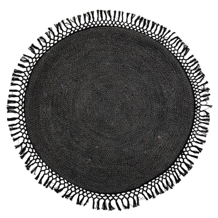 Idakamille Jute Teppich, Ø 122 cm, schwarz von Bloomingville.