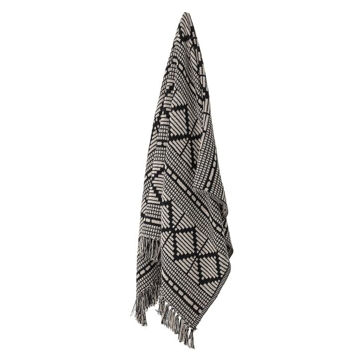 Frederika Decke aus recycelter Baumwolle, 160 x 130 cm, schwarz von Bloomingville.