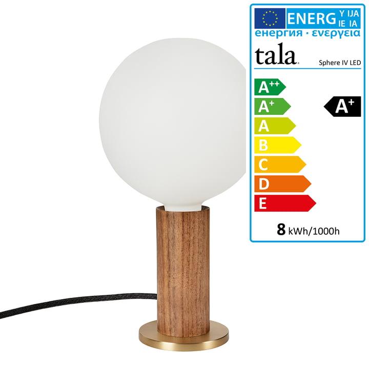 Walnut Knuckle Tischleuchte, Walnuss / Messing inklusive Sphere IV LED-Leuchtmittel E27 8W, Ø 15 cm, weiß matt von Tala.
