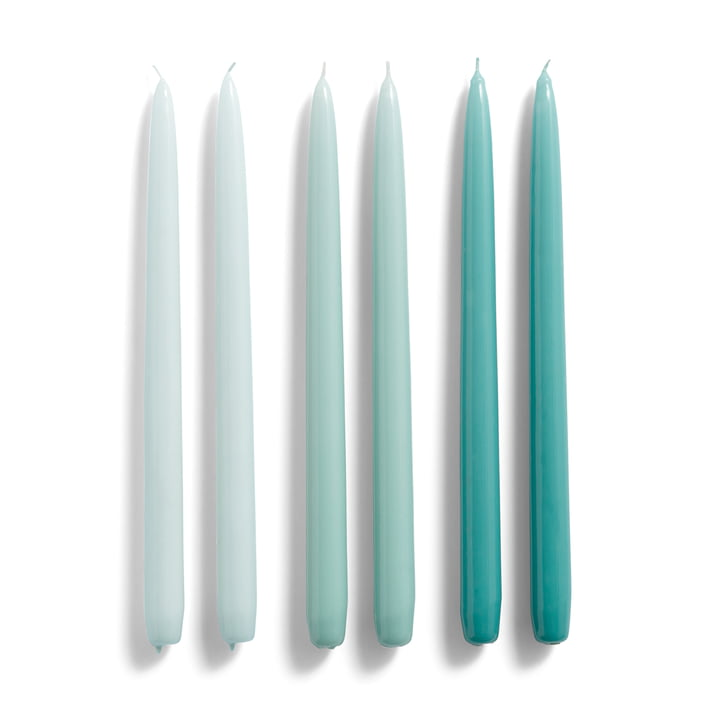 Conical Stabkerzen H 33 cm, ice blue / arctic blue / teal (6er-Set) von Hay.