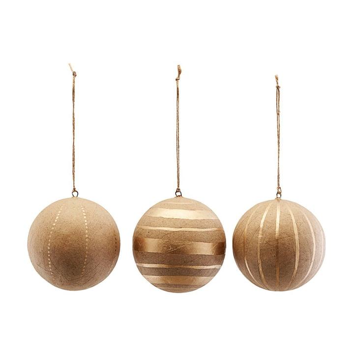 Weihnachtsbaumkugeln Craft, Ø 10 cm, gold (3er-Set) von House Doctor