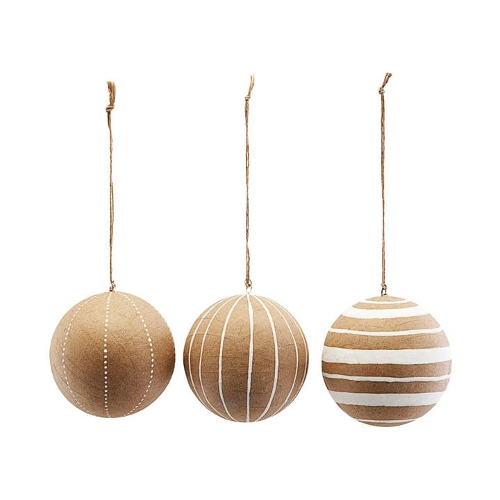 Weihnachtsbaumkugeln Craft, Ø 10 cm, weiß (3er-Set) von House Doctor