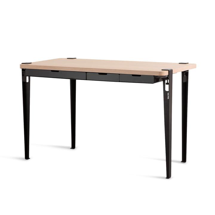 Der MONOCHROME Schreibtisch mit Schubladen, Eiche / graphitschwarz von TipToe