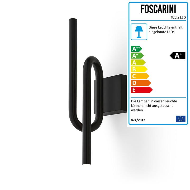 Die Tobia LED-Wandleuchte, schwarz von Foscarini