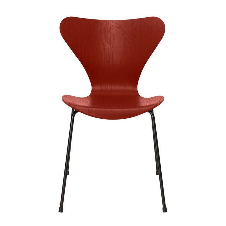 Serie 7 Stuhl von Fritz Hansen in Esche venetian red gefärbt / Gestell schwarz