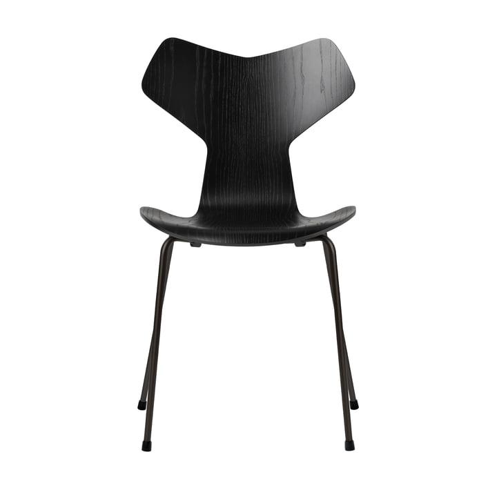 Grand Prix Stuhl von Fritz Hansen in Esche schwarz gefärbt / Gestell schwarz