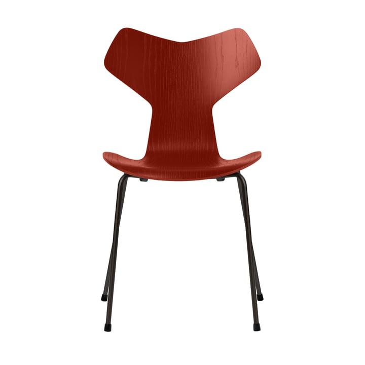 Grand Prix Stuhl von Fritz Hansen in Esche venetian red gefärbt / Gestell schwarz