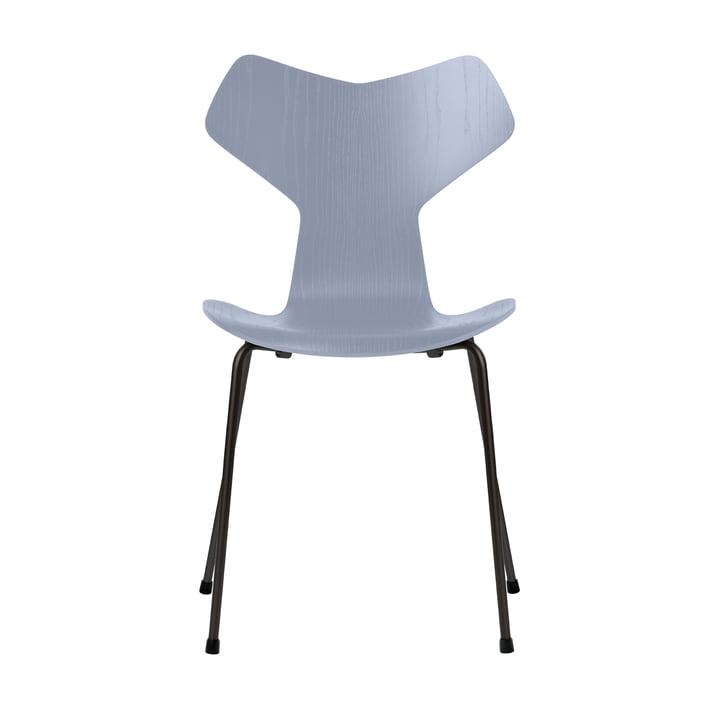Grand Prix Stuhl von Fritz Hansen in Esche lavender blue gefärbt / Gestell schwarz