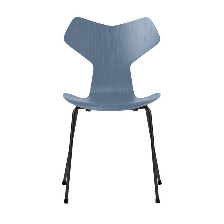 Grand Prix Stuhl von Fritz Hansen in Esche dusk blue gefärbt / Gestell schwarz