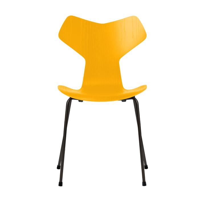 Grand Prix Stuhl von Fritz Hansen in Esche true yellow gefärbt / Gestell schwarz