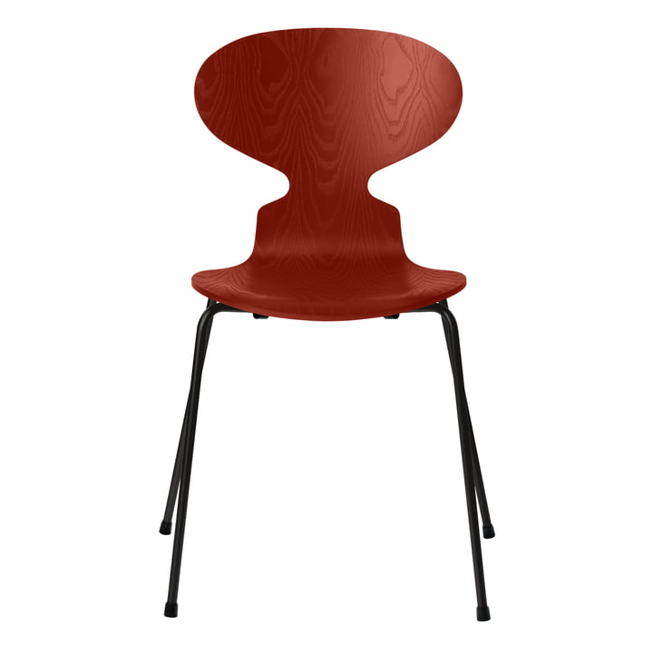 Ameise Stuhl von Fritz Hansen in Esche venetian red gefärbt / Gestell schwarz