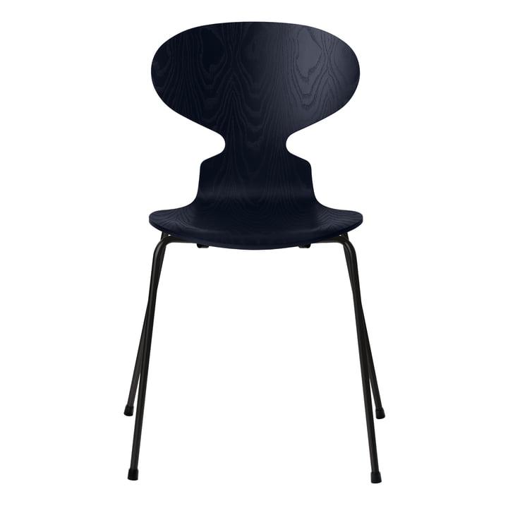 Ameise Stuhl von Fritz Hansen in Esche midnight blue gefärbt / Gestell schwarz