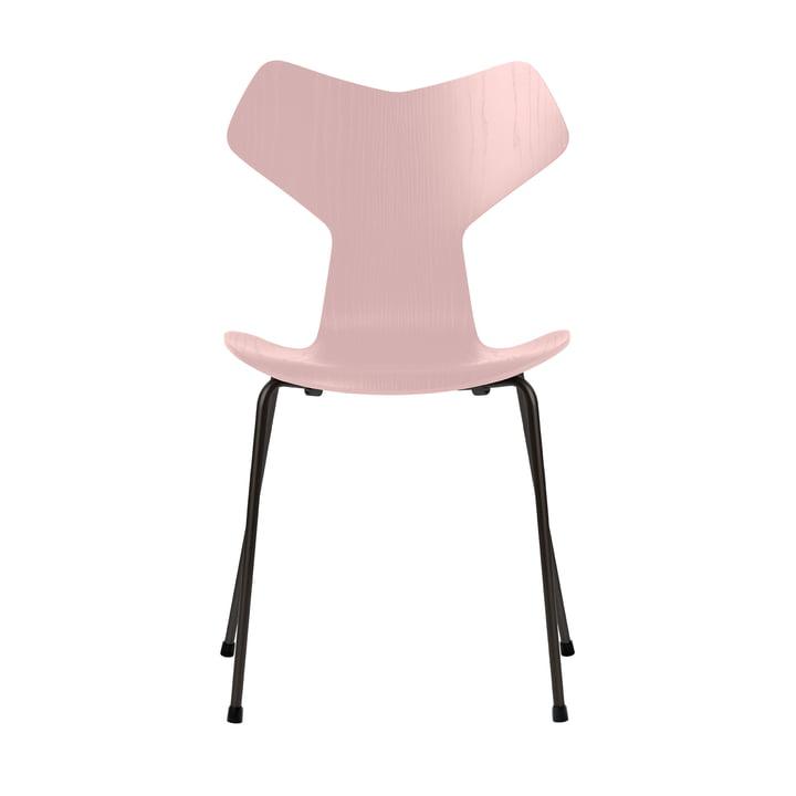 Grand Prix Stuhl von Fritz Hansen in Esche pale rose gefärbt / Gestell schwarz
