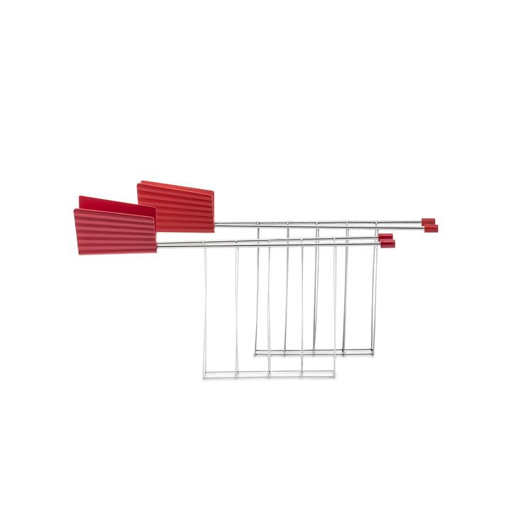 Die Toasterzange für Plissé Toaster, rot (2er-Set) von Alessi