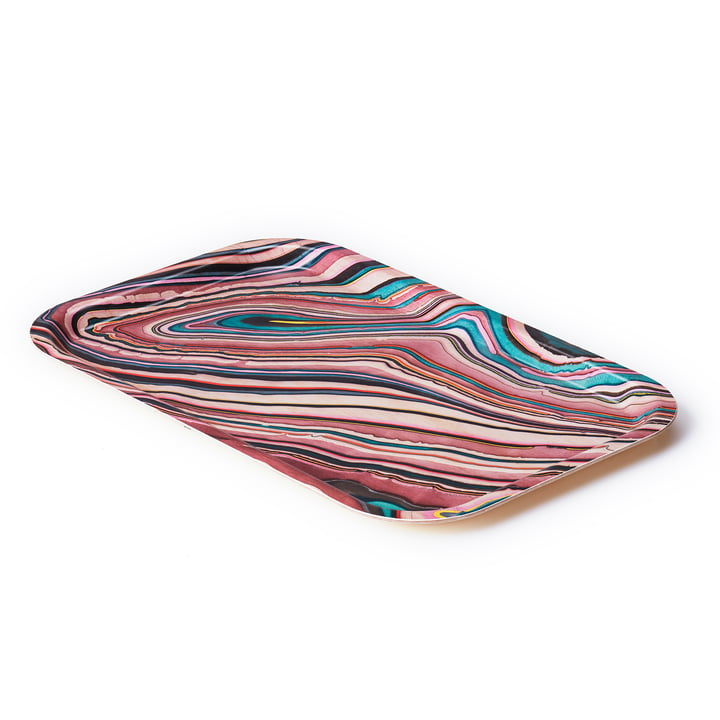 A Tribute to Wood Tray small, red stripes von applicata