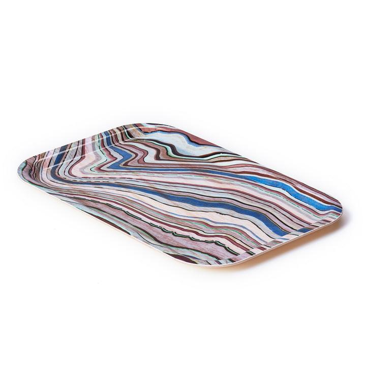 A Tribute to Wood Tray small, blue stripes von applicata