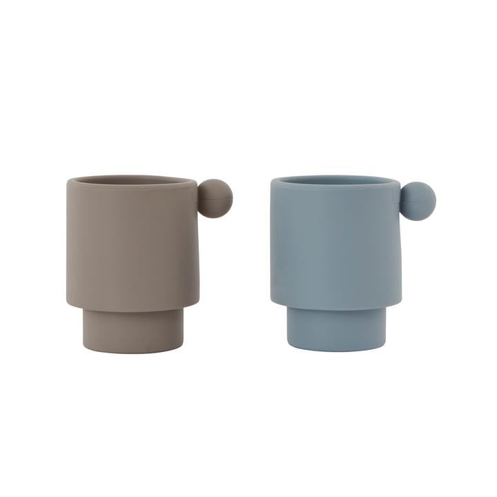 Die Tiny Inka Silikon Becher, Dusty Blue / Clay (2er- Set) von OYOY