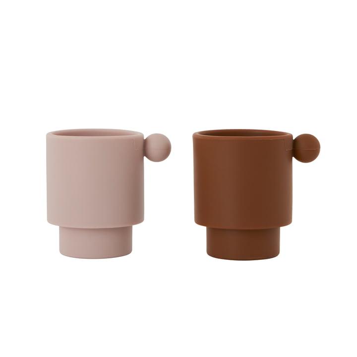 Die Tiny Inka Silikon Becher, Caramel / Rose (2er- Set) von OYOY