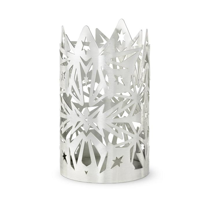 Der Karen Blixen Blockkerzenhalter, H 16 x Ø 9,5 cm, silber von Rosendahl