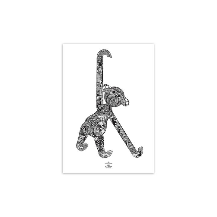 Affen Poster, 30 x 40 cm, schwarz / weiß von Kay Bojesen