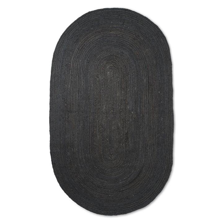 Der große Eternal Oval Jute Teppich von ferm Living in schwarz
