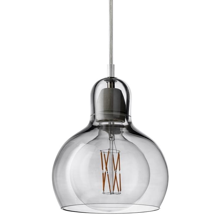 &tradition - MEGA Bulb Pendelleuchte SR2, Glasschirm silber / Kabel transparent