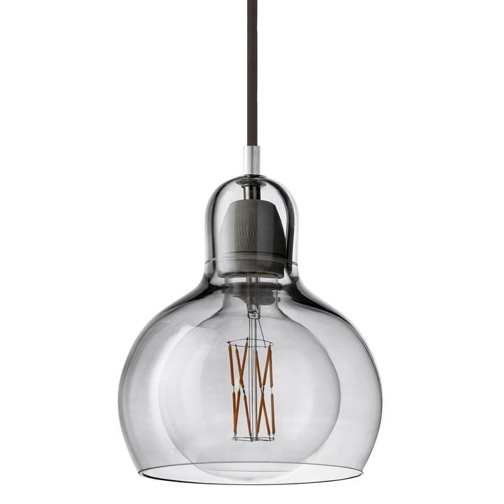 &tradition - MEGA Bulb Pendelleuchte SR2, Glasschirm silber / Kabel schwarz