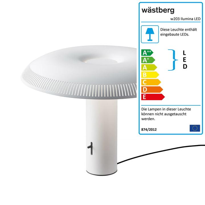 Die w203 Ilumina LED Tischleuchte von Wästberg in weiß