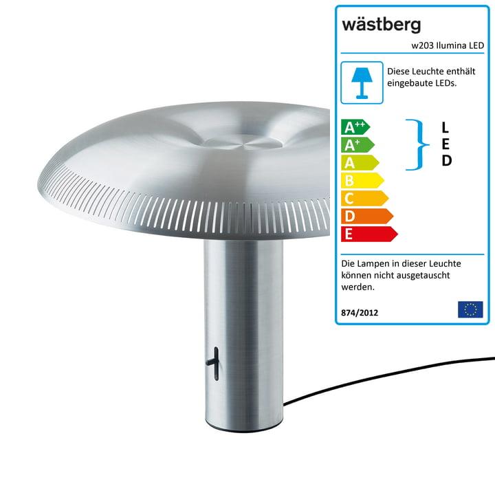 Die w203 Ilumina LED Tischleuchte von Wästberg in Aluminium