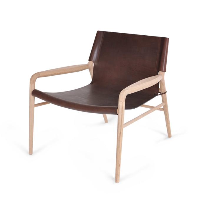 Rama Lounge Chair, Eiche geseift / Leder mocca von Ox Denmarq