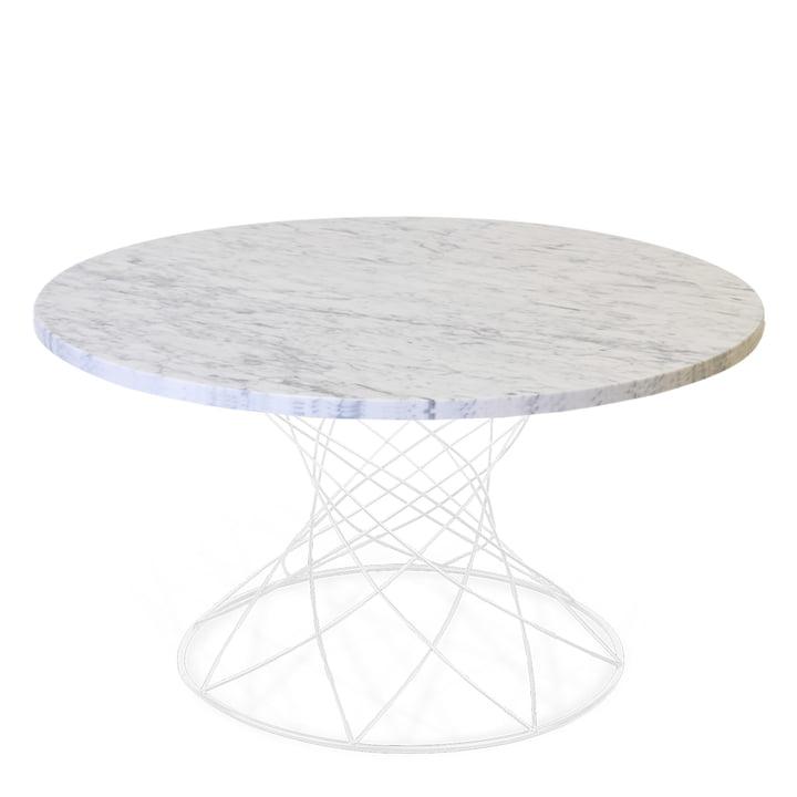 Der Merge Couchtisch H 45 Ø 80 cm, weiß / Marmor weiß von Ox Denmarq