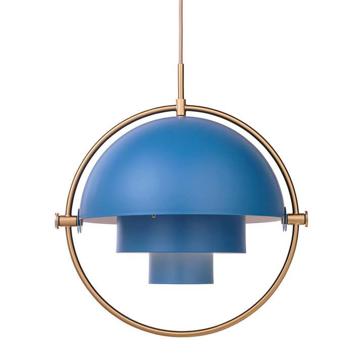 Gubi - Multi-Lite Pendelleuchte Ø 36 cm, blau / messing