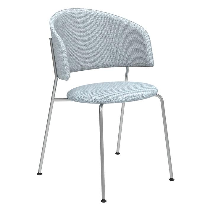 Der Wagner Dining Chair von Objekte unserer Tage in Chrom / Coda 2 (hellblau / rot)