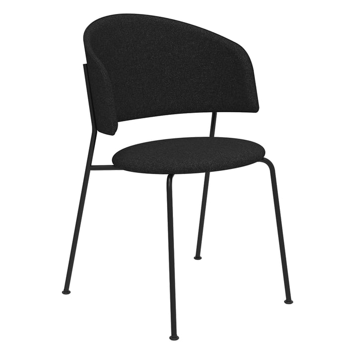 Der Wagner Dining Chair von Objekte unserer Tage in schwarz / Mainline Flax (anthrazit)