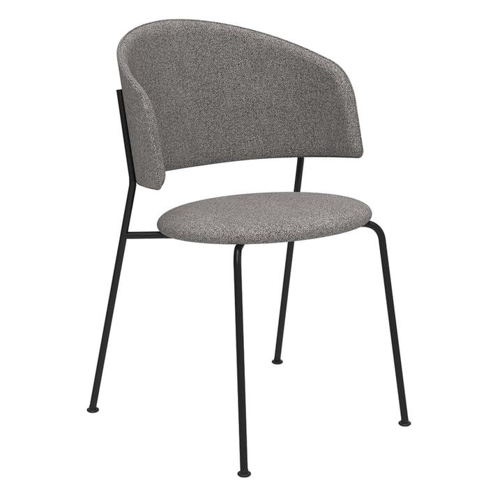Der Wagner Dining Chair von Objekte unserer Tage in schwarz / Mainline Flax (steingrau)