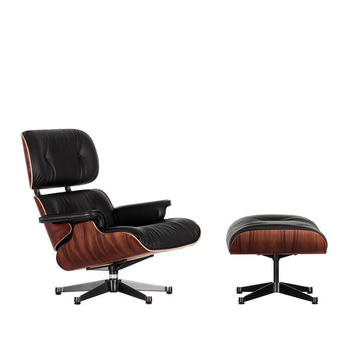 Lounge Chair & Ottoman von Vitra in der Ausführung poliert / Seiten schwarz, Santos Palisander, Leder Premium F nero (neue Maße)