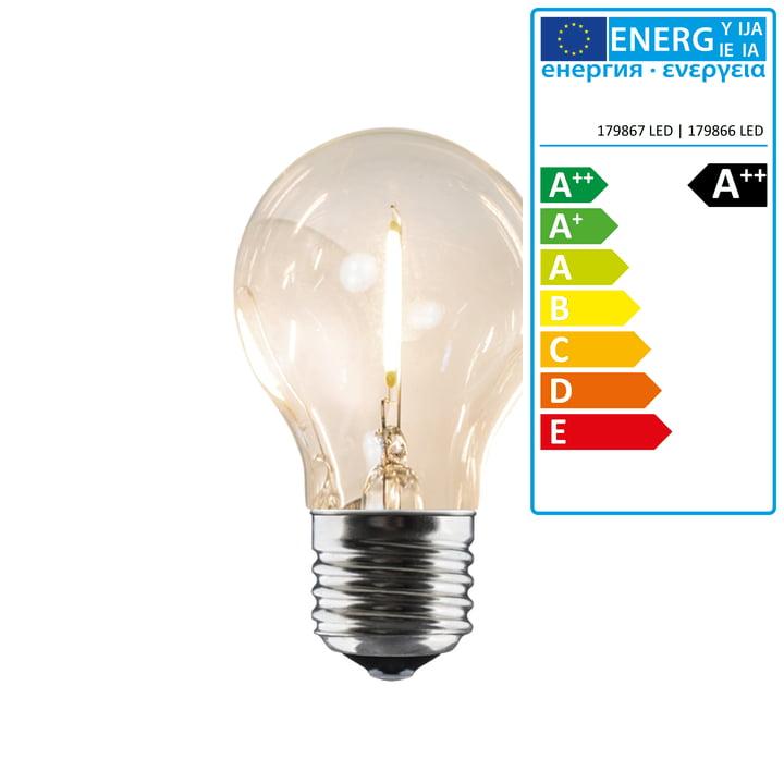 Connox Collection - Ersatzleuchtmittel für LED Lichterkette Indoor/Outdoor (IP 44), 10 Lampen rund, Kabel schwarz
