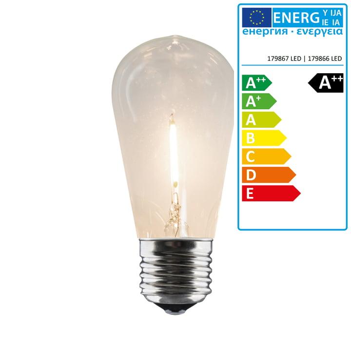 Connox Collection - Ersatzleuchtmittel für LED Lichterkette Indoor/Outdoor (IP 44), 10 Lampen oval, Kabel schwarz