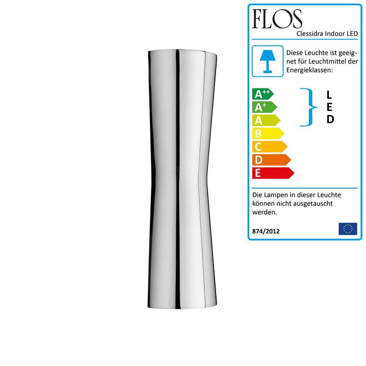 Die Clessidra Indoor LED-Wandleuchte 20° von Flos in chrom