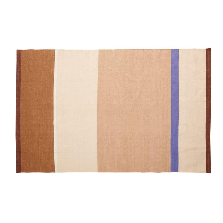 Gestreifter Teppich 120 x 180 cm, beige / sand / braun / blau von Hübsch Interior