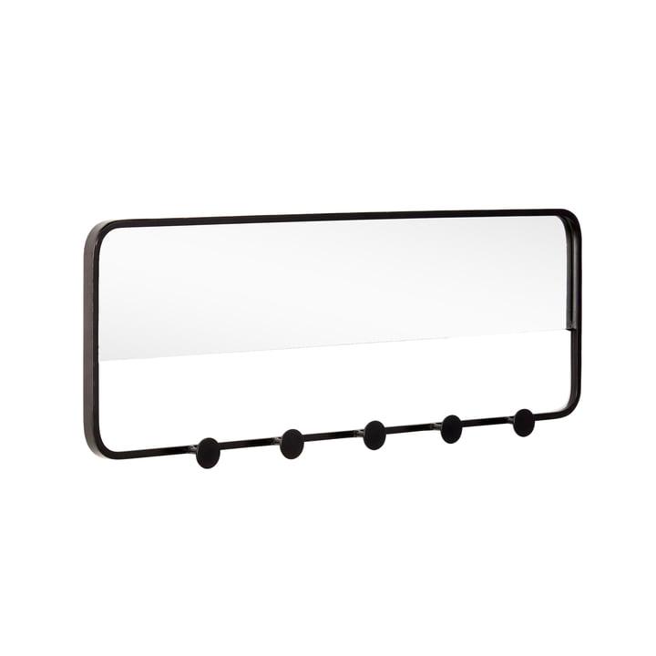 Garderobenleiste mit Spiegel, schwarz von Hübsch Interior